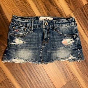 HOLLISTER SKIRT mini 0 denim blue jeans short w24